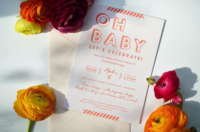Oh baby, let's celebrate! We're halfway to Friday!  #letterpress #graphicdesign #stationery #design #typography #showerdesign #kceventsandflorals #invitations #invitationdesign