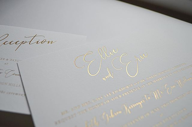 Fun fact: it's impossible for gold foil letterpress not to look amazing. . . #letterpress #goldfoilprint #graphicdesign #kcdaily #kcdesign #invitations #stationery #kcevents #kansascity