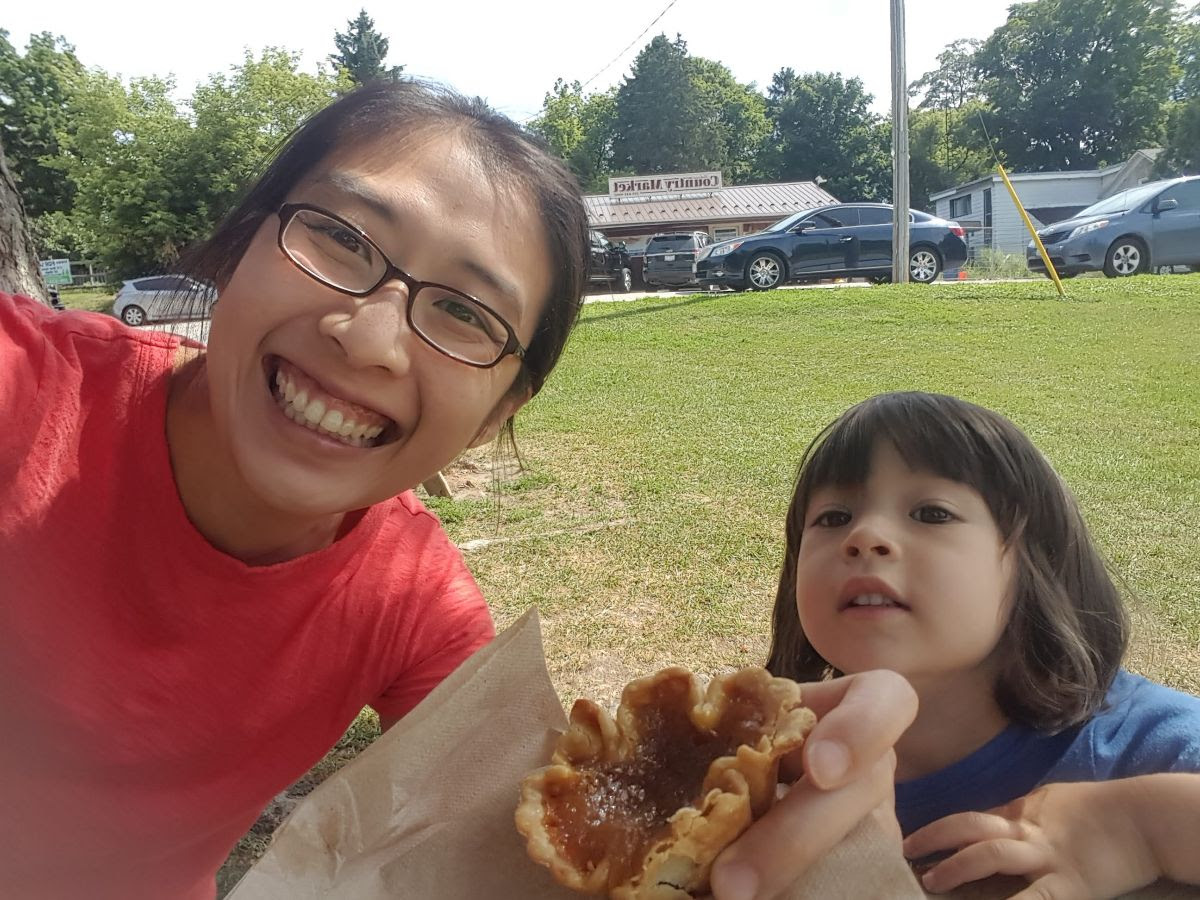 Stopping in a small town to get butter tarts.