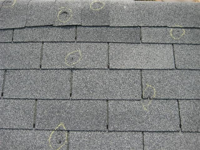 Hail Damaged shingles after the Sept. 2017 Hailstorm in Texarkana.