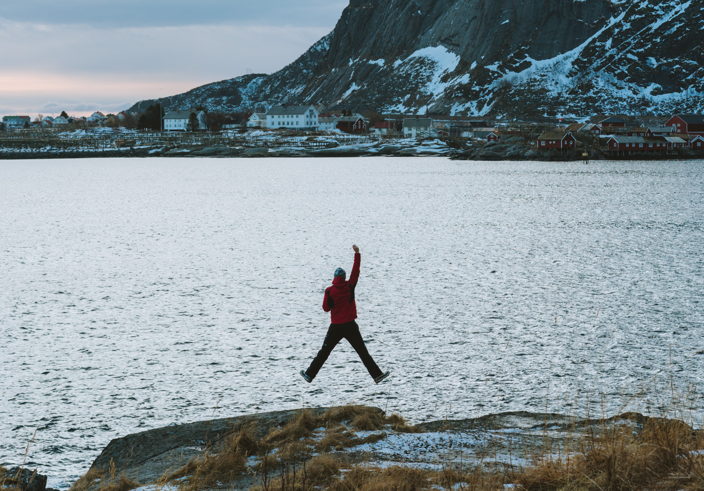 In front of the fjord of Reine