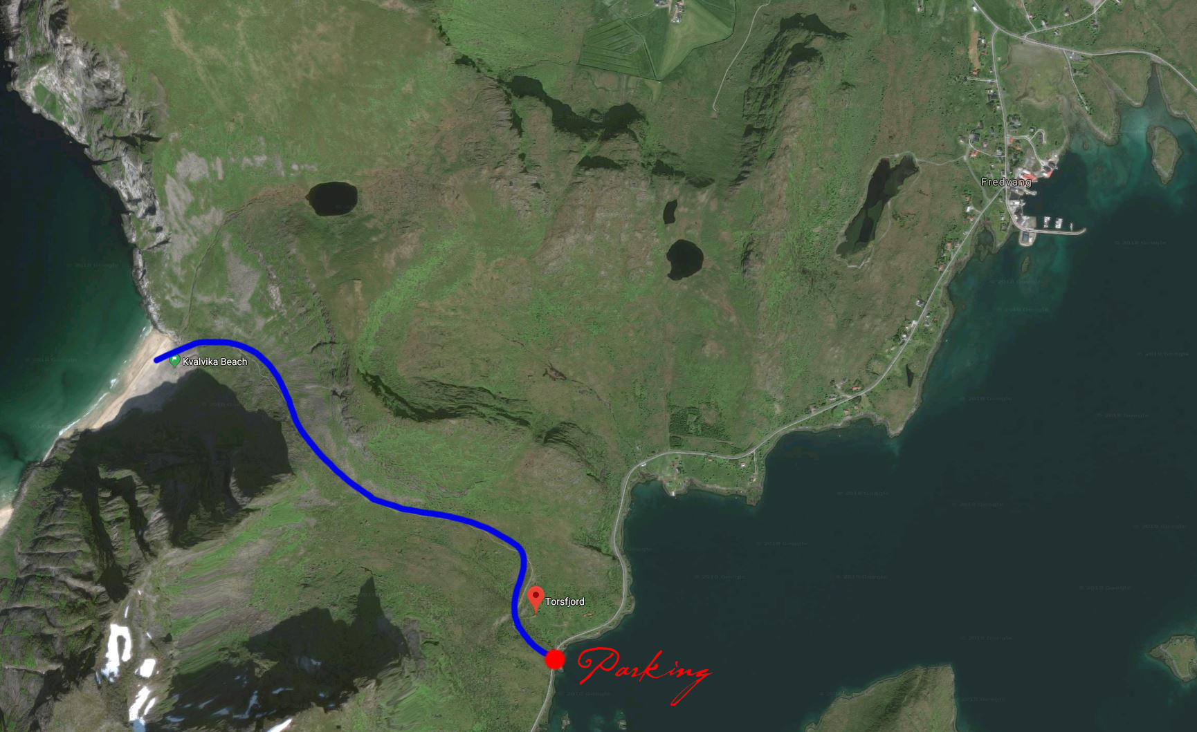 Map of the trail towards Kvalvika Beach