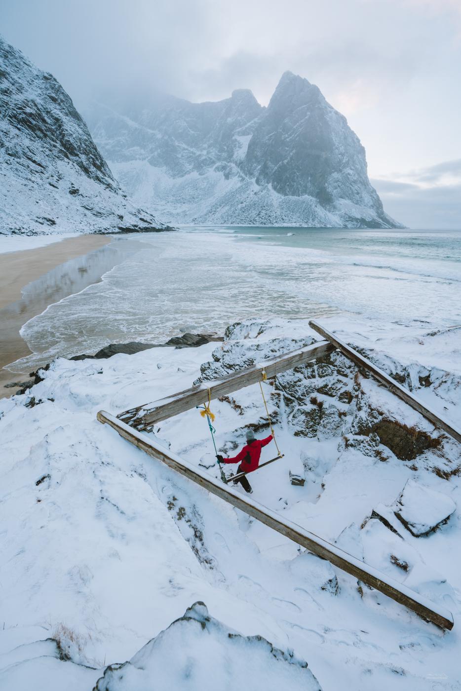 Rope swing at Kvalvika Beach, Lofoten, Norway