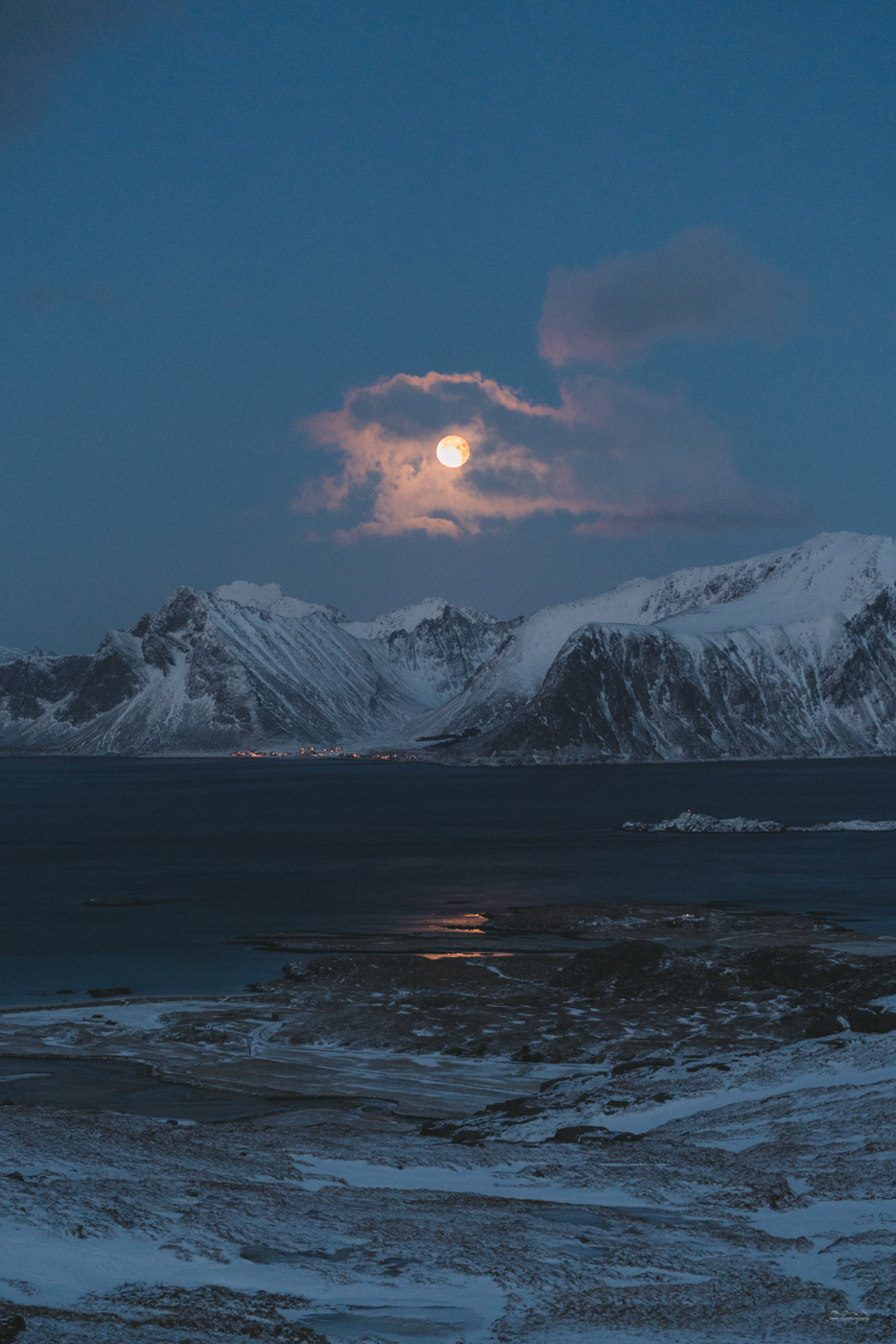 Blue blood moon at Ryten, Lofoten, Norway