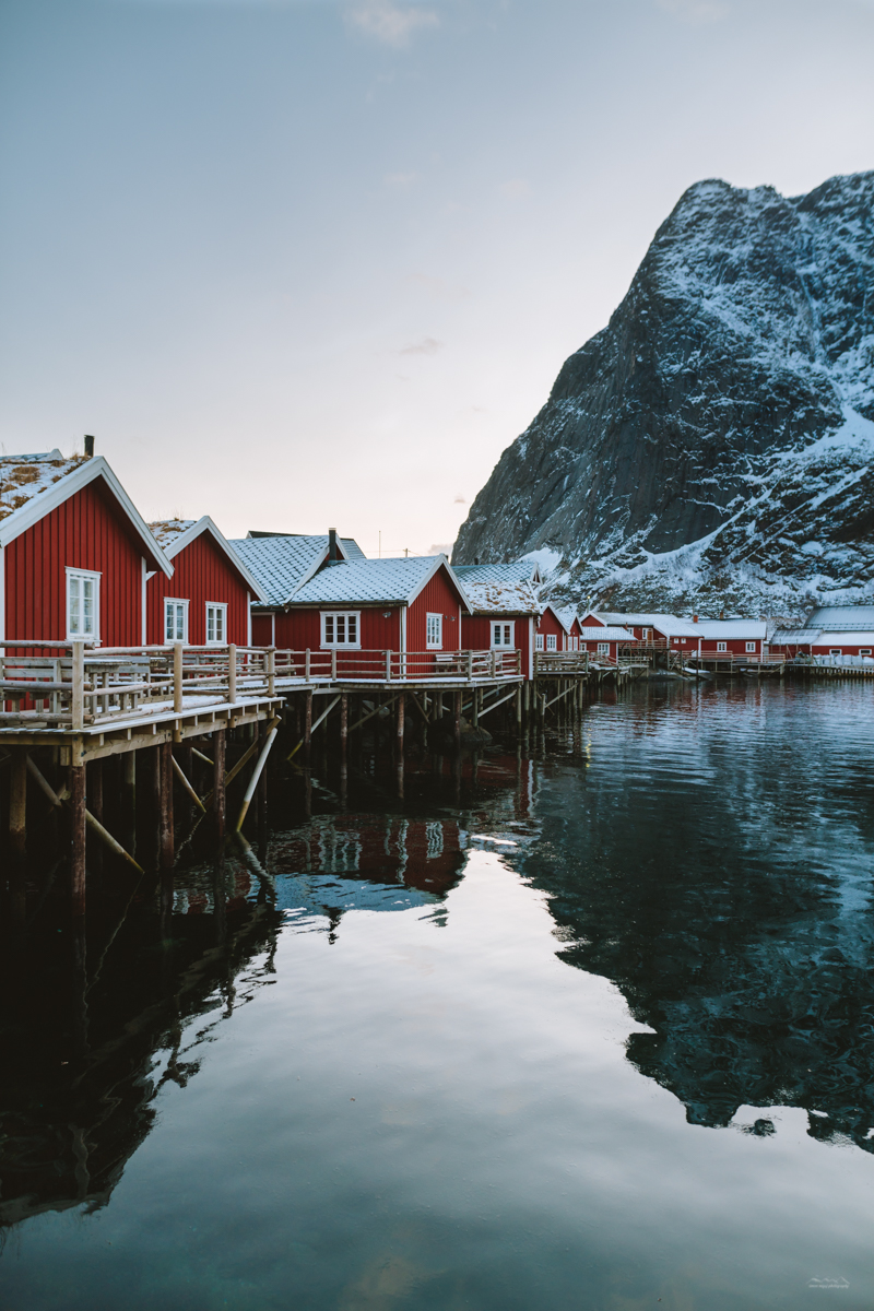 Red huts of Reine, Lofoten reflected in the fjord waters