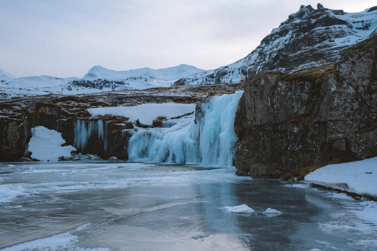 The frozen Kirkjufellfoss