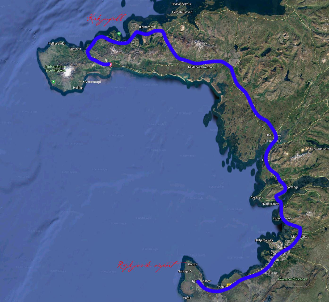 Map from Reykjavik to Kirkjufell