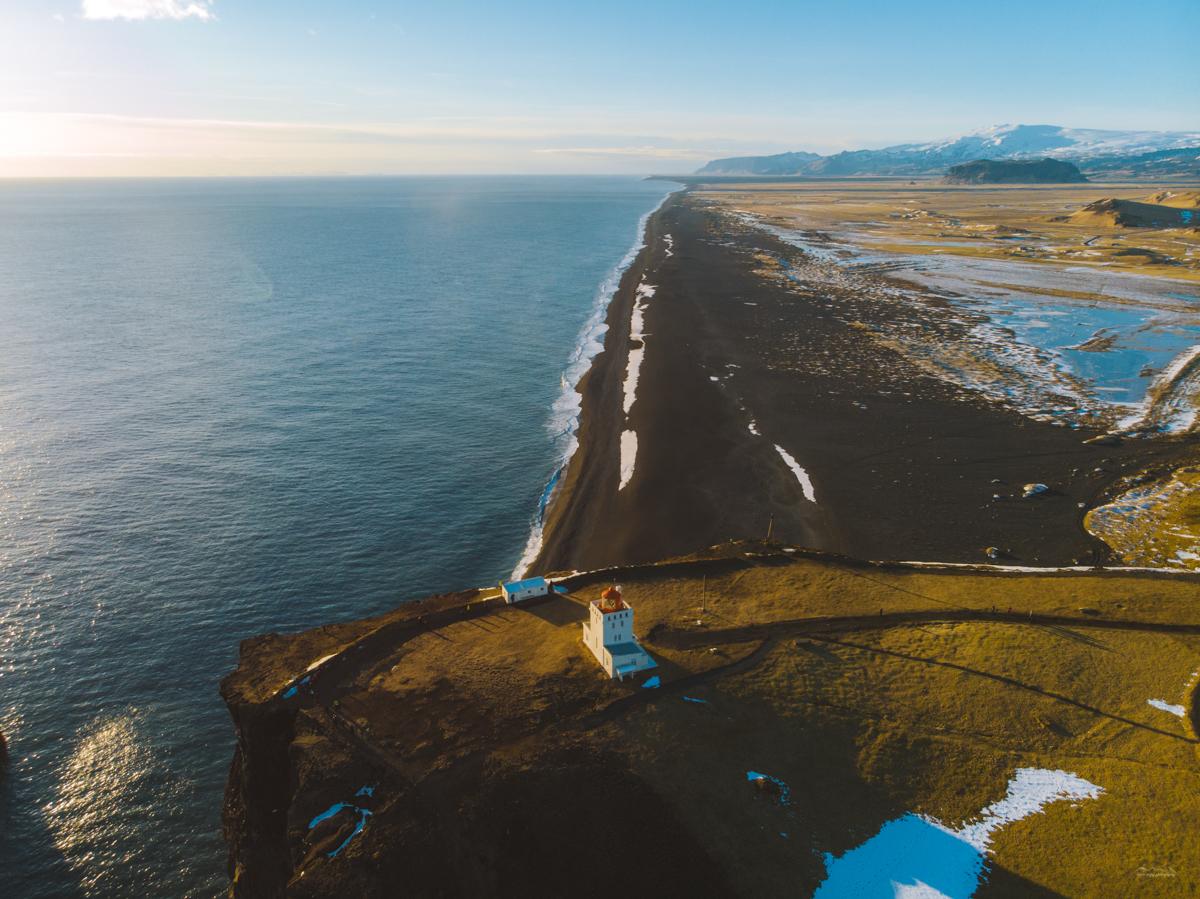 Aerial view of the Dyrhólaey lighthouse taken with a DJI Mavic Air