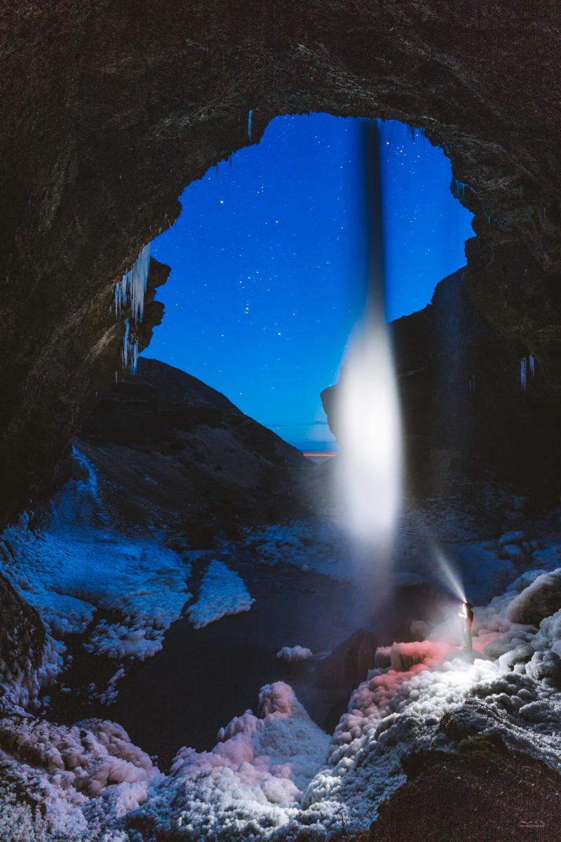 Nighttime photography at Kvernufoss waterfall