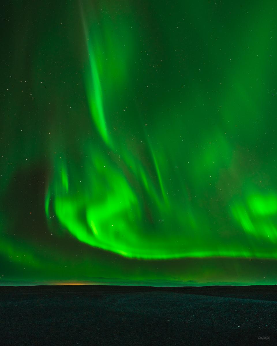 Aurora borealis during the 2018 Icelandic winter