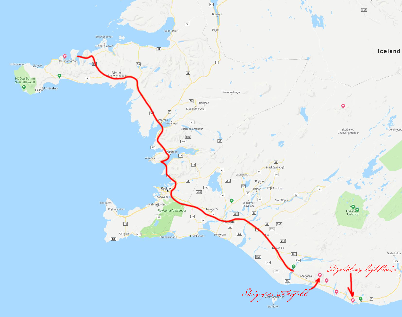 Map of south-west coast of Iceland and the road from Kirkjufellsfoss to Skógafoss