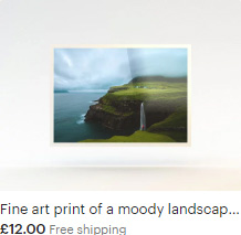 Fine art print of a classic composition of Múlafossur Waterfall in Gasadalur, Faroe Islands