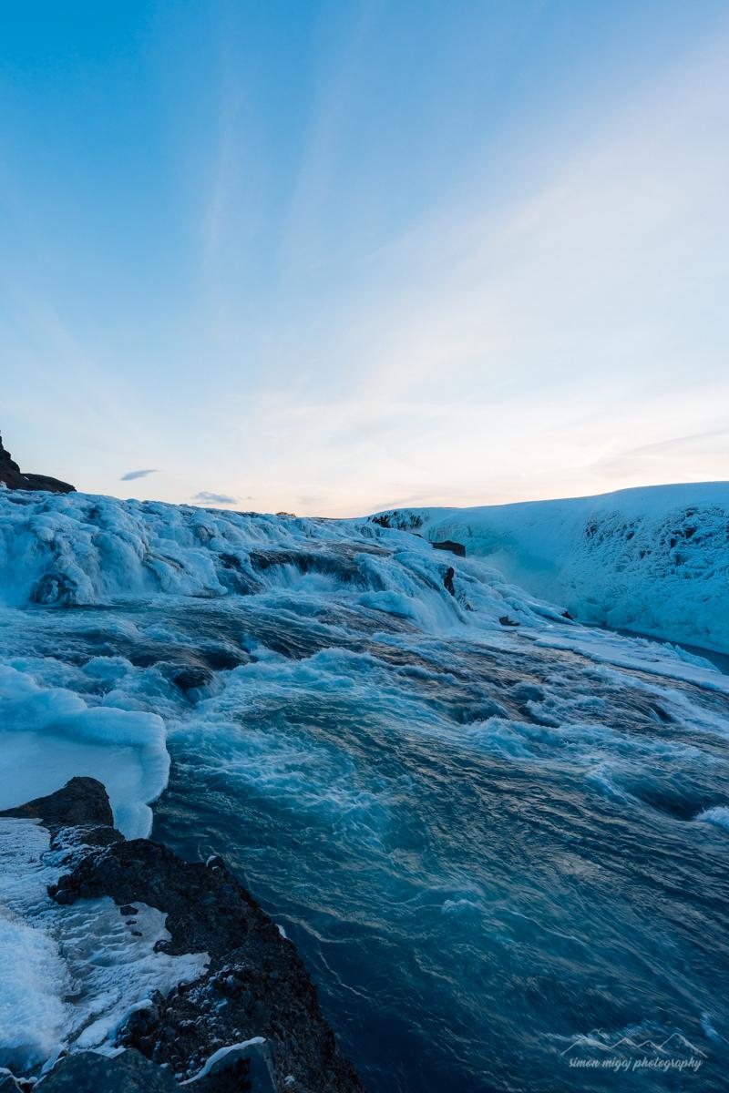 Early morning sky at Gullfoss waterfall