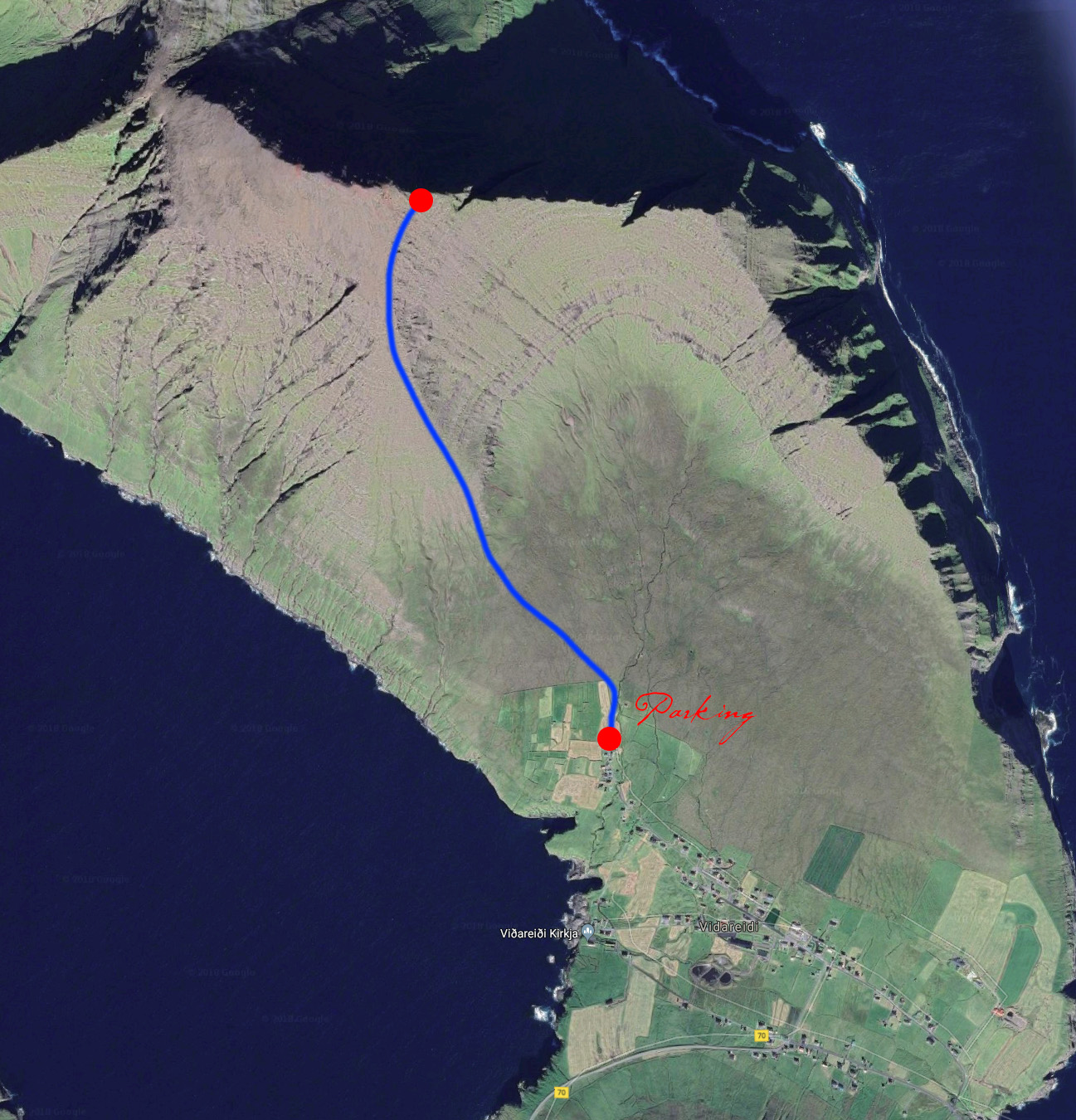 My hike to the peak above Viðareiði