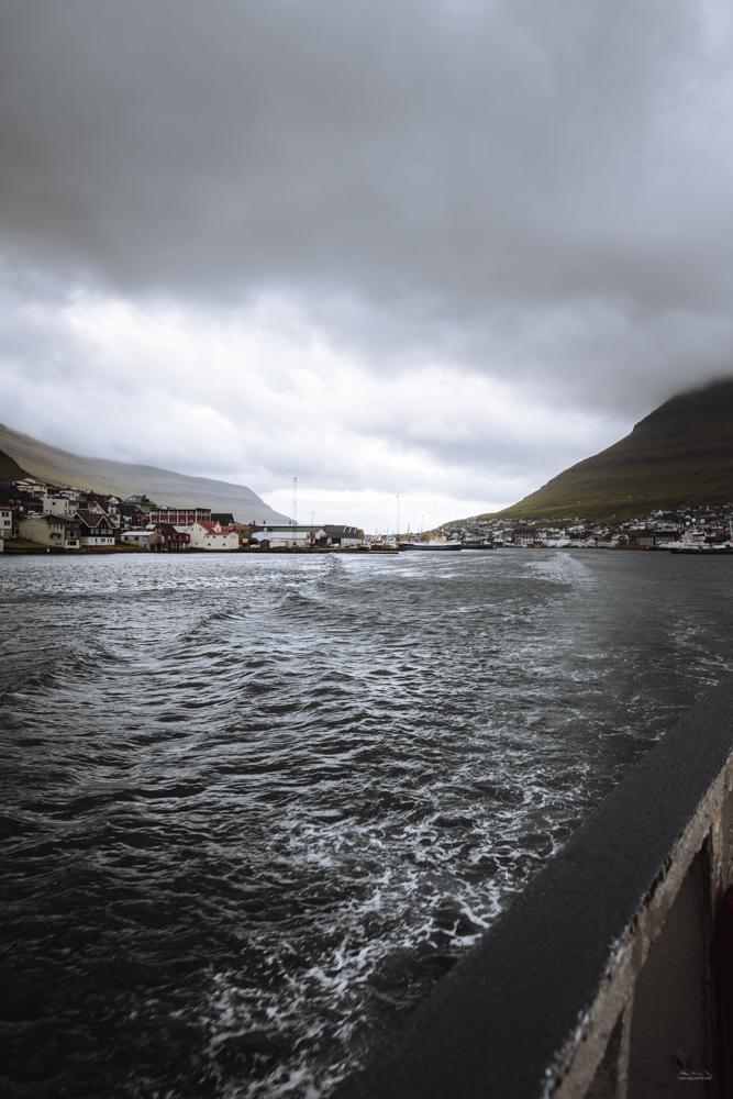 Klaksvik seen from the ferry to Syðradalur