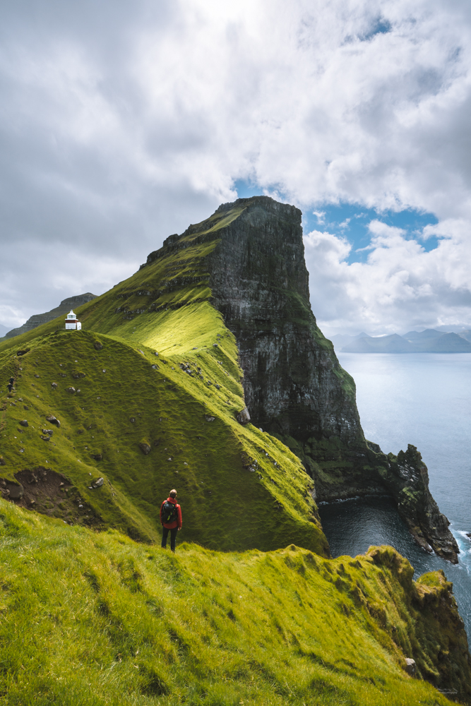 Looking at the Kallur Lighthouse, Kalsoy