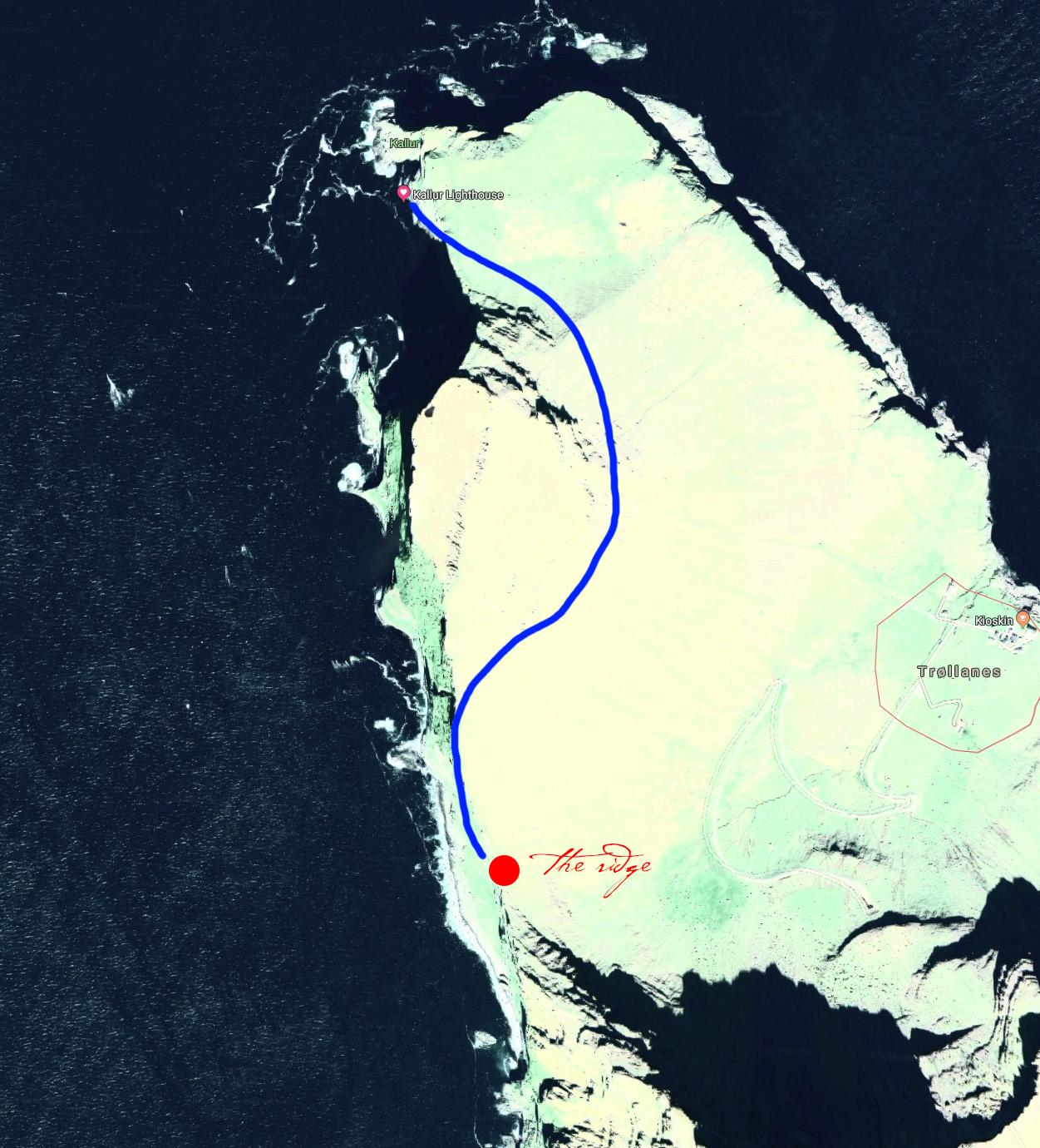 Hike map from Kallur Lighthouse to Nestindar, Borgarin