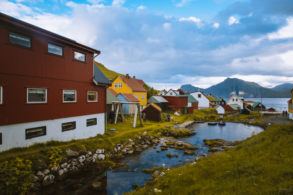 Colourful houses in the village of Gjógv