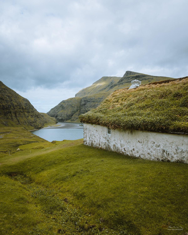 Grass covered building in Saksun, Faroe Islands