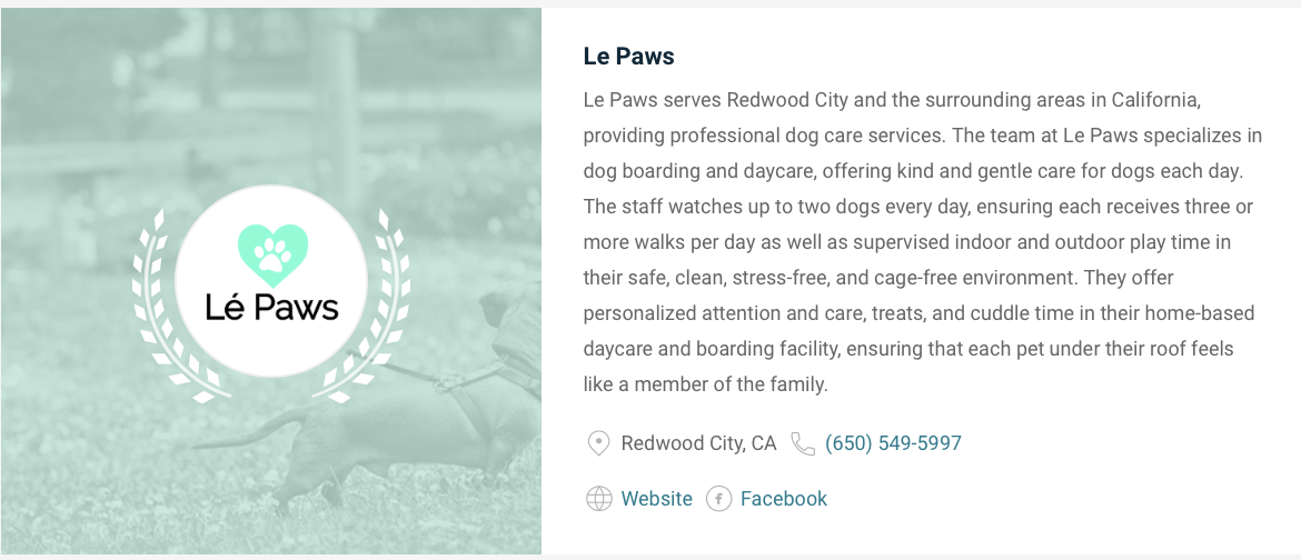We are so thrilled to be ranked one of the TOP 8 best dog care services in San Mateo county this year!