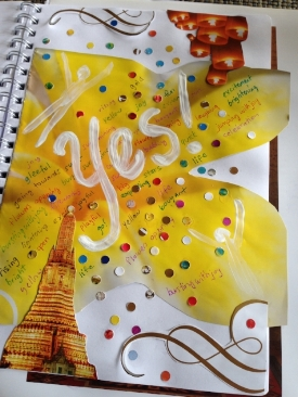 My YES is yellow like flowers opening, party celebrations, confetti exploding. I'm jumping up, running towards, buoyant and excited. What does your YES look like?