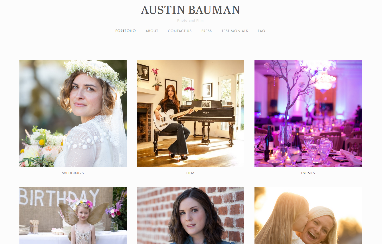 Austin Bauman - A great photographer based in Orange County, California, he specializes in family/child photography as well as weddings. He was operating without a website before I came along, if you can believe it! Click the image for more!