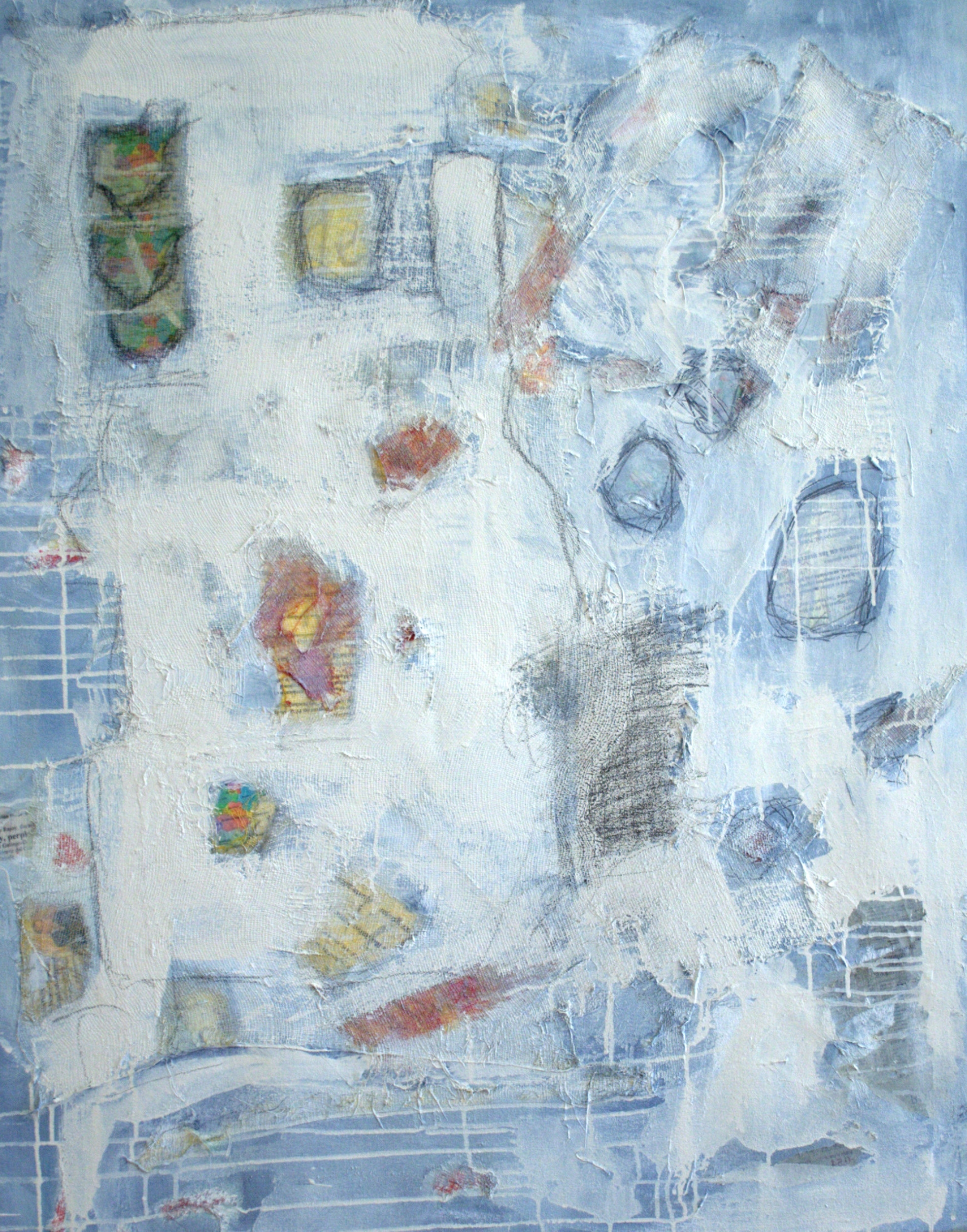 11 My Thoughts on the Spanish Crisis (oil, newsprint, cloth, housepaint and pencil on canvas, 40 x 30).jpg