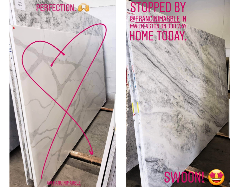 Remember these  IG stories ? The Venato quartz is on the left and marble is on the right.