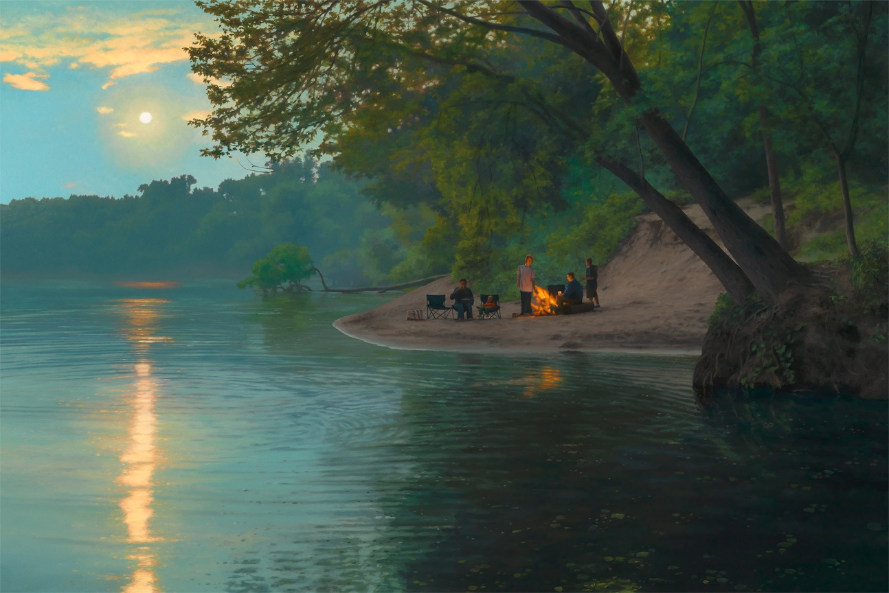 Scott Prior,  Moonrise on the River , 2012, Oil on panel, 24 x 36""