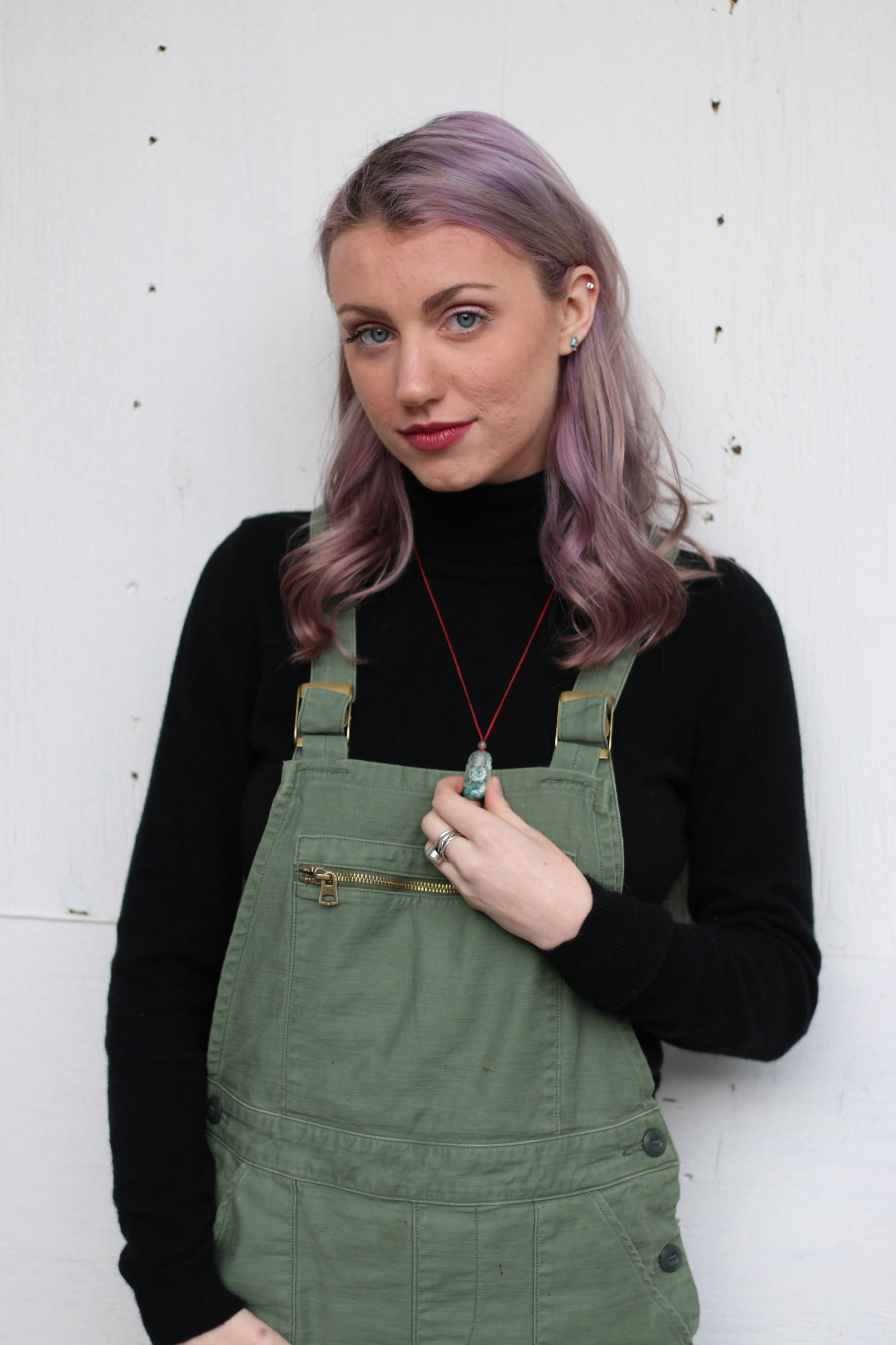 On Sophia:  Levi's overalls, Jennie Liu sweater, handmade necklace, thrifted shoes