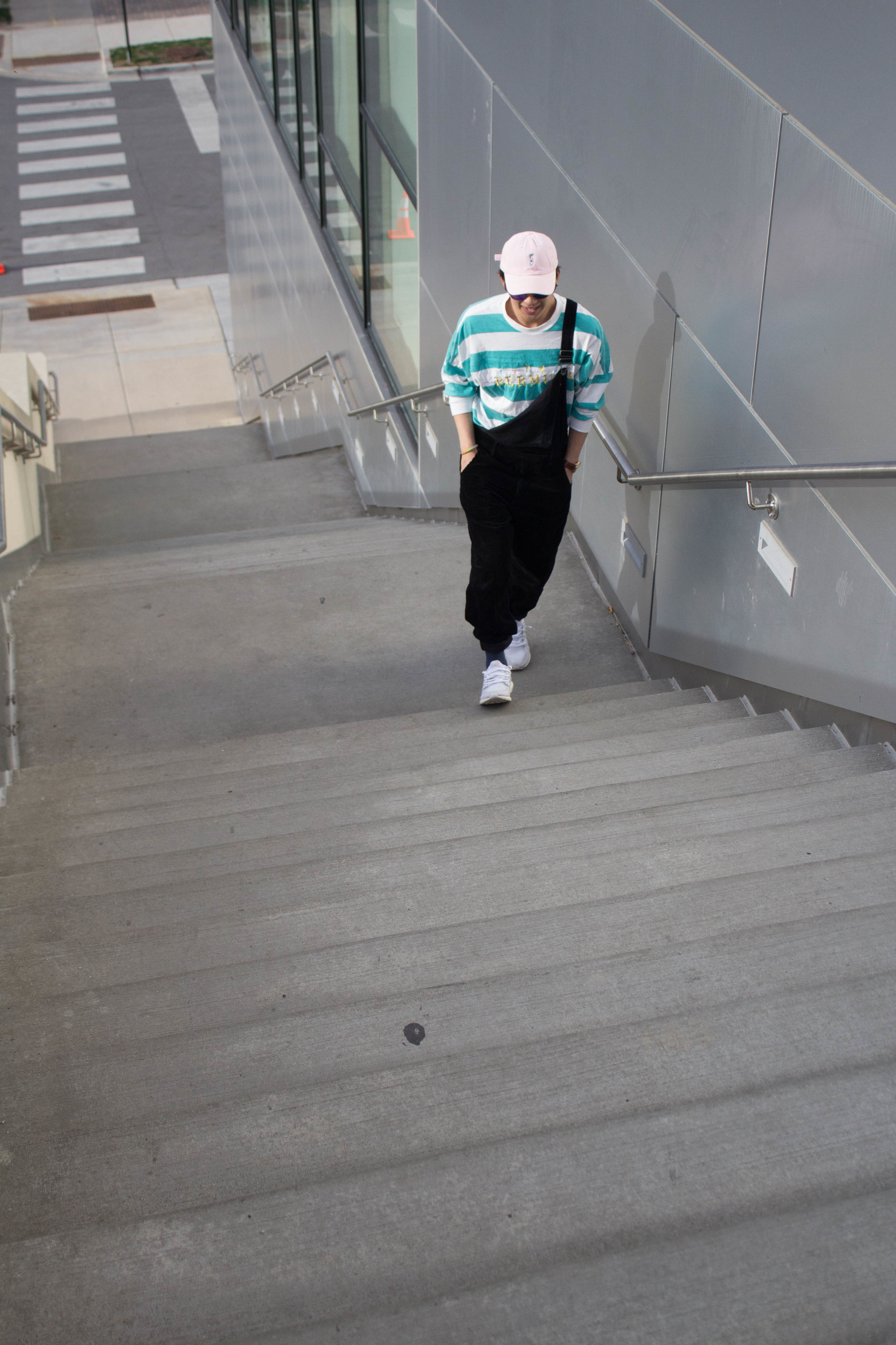 On Andrew:  Urban Outfitters overalls & shirt,JWEJ Clothing hat, Adidas sneakers