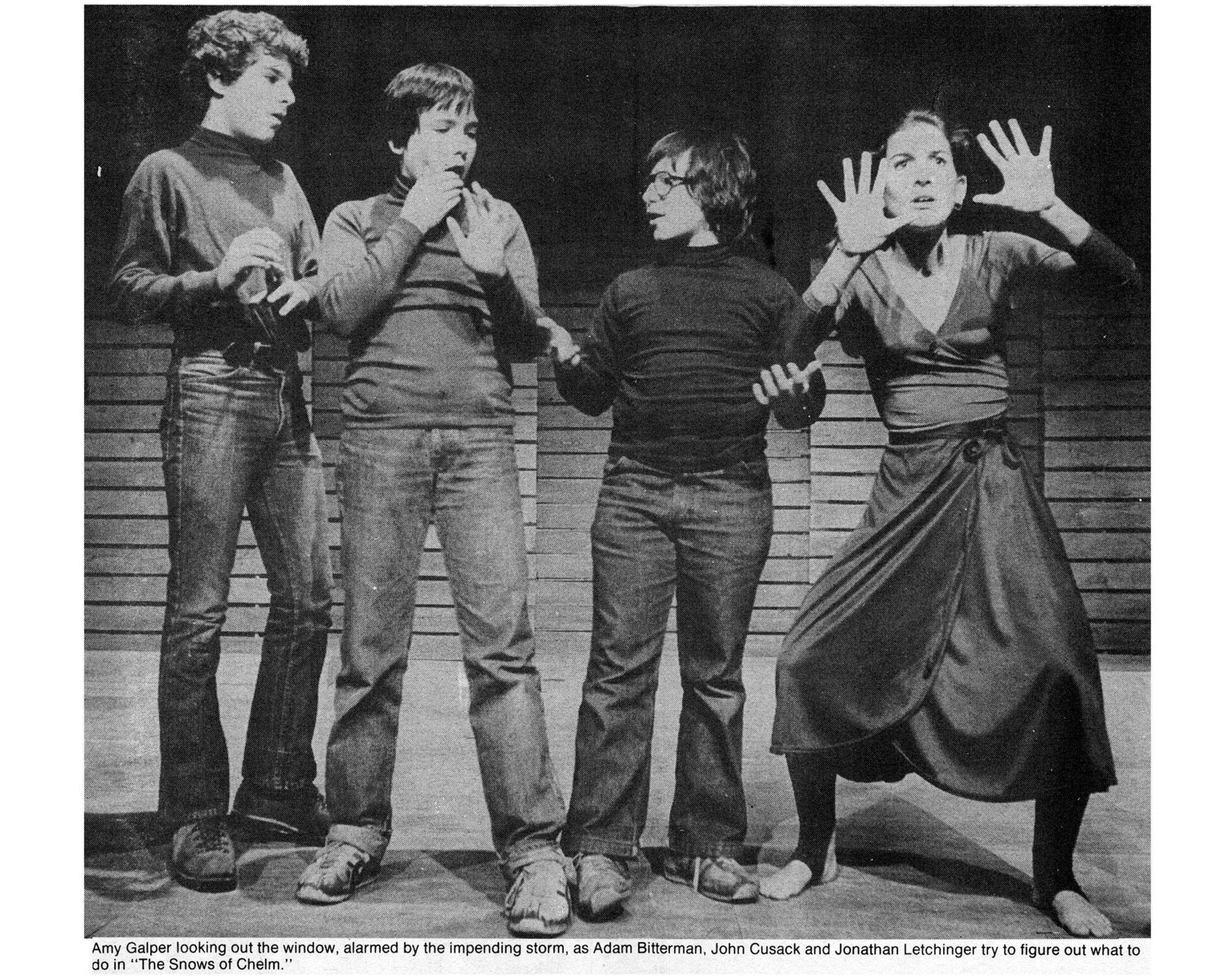 Piven Theater Workshop L-R: J.B. Letchinger, John Cusack, Adam, and Amy Galper. Circa 1978