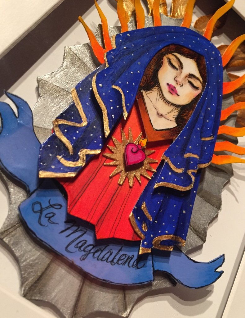 """""""La Magdalena"""" : three dimensional collage in ink and acrylic. 2017"""
