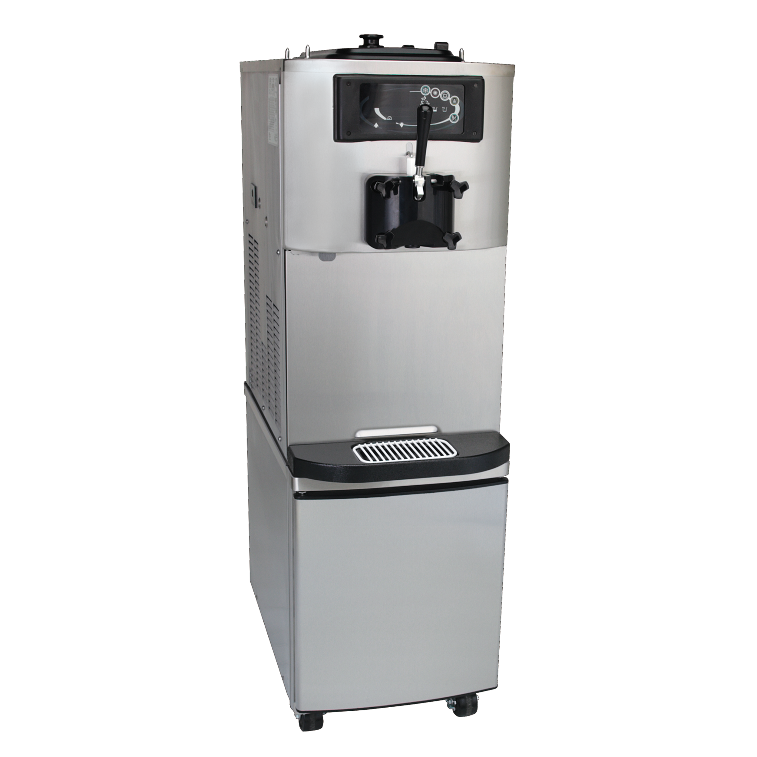 Model C708 with cart   Soft Serve Freezer  Offer all the popular soft serve variations from low to nonfat ice creams or yogurt.  KEY SPECIFICATIONS:   Finished Products : Soft Serve   Installation : Floor    Number of Flavors : 1   Freezing Cylinder QTY : 1   Freezing Cylinder Size (qt/l) : 3.4/3.2