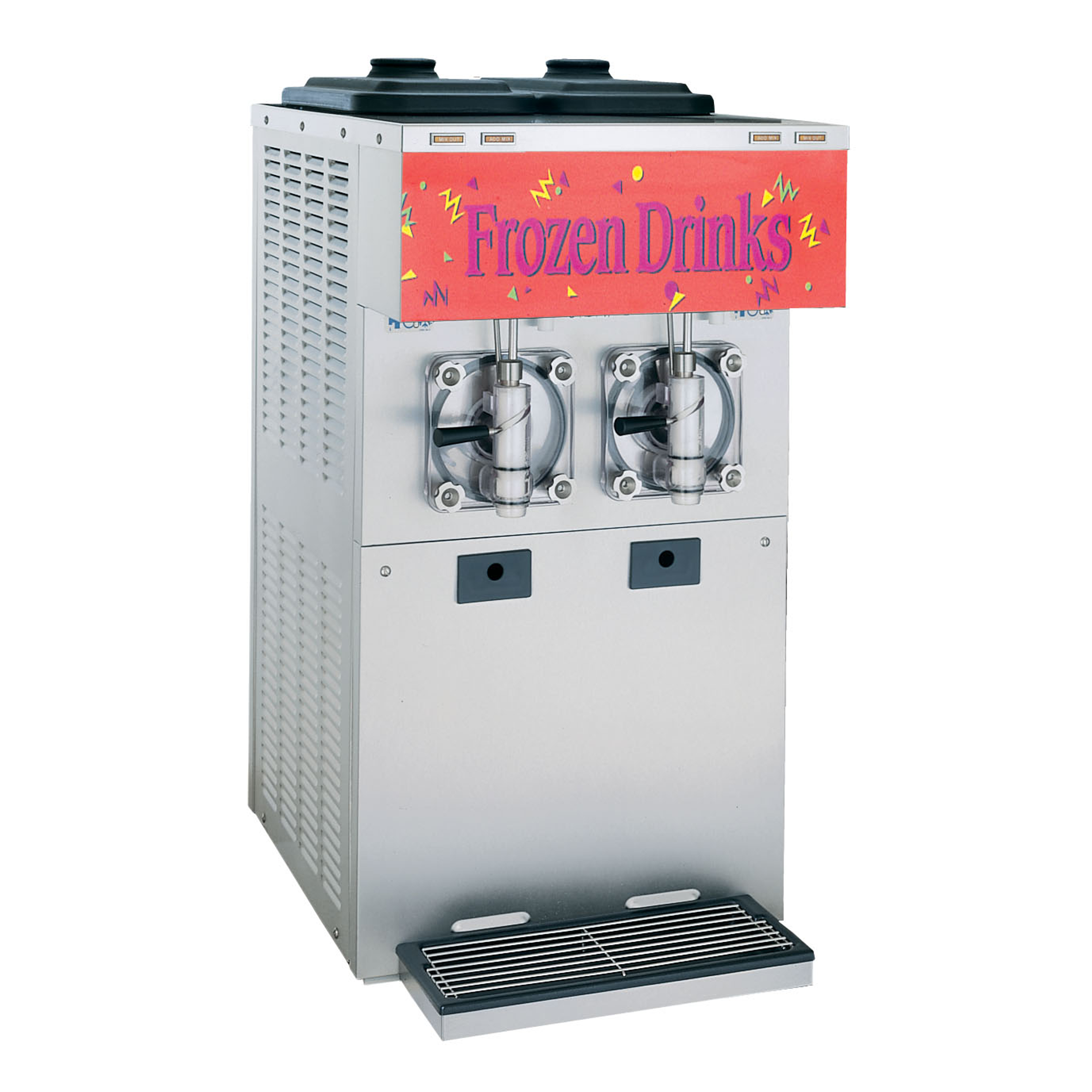 Model 432   Vary your menu by offering shakes & smoothies or frozen cocktails, fruit juices, coffees, cappuccino and tea slush beverages, all served at the desired thickness.  KEY SPECIFICATIONS:   Finished Products : Frozen Beverage, Smoothies, Shake   Installation : Countertop   Number of Flavors : 2   Freezing Cylinder QTY : 2   Freezing Cylinder Size (qt/l) : 4/3.8