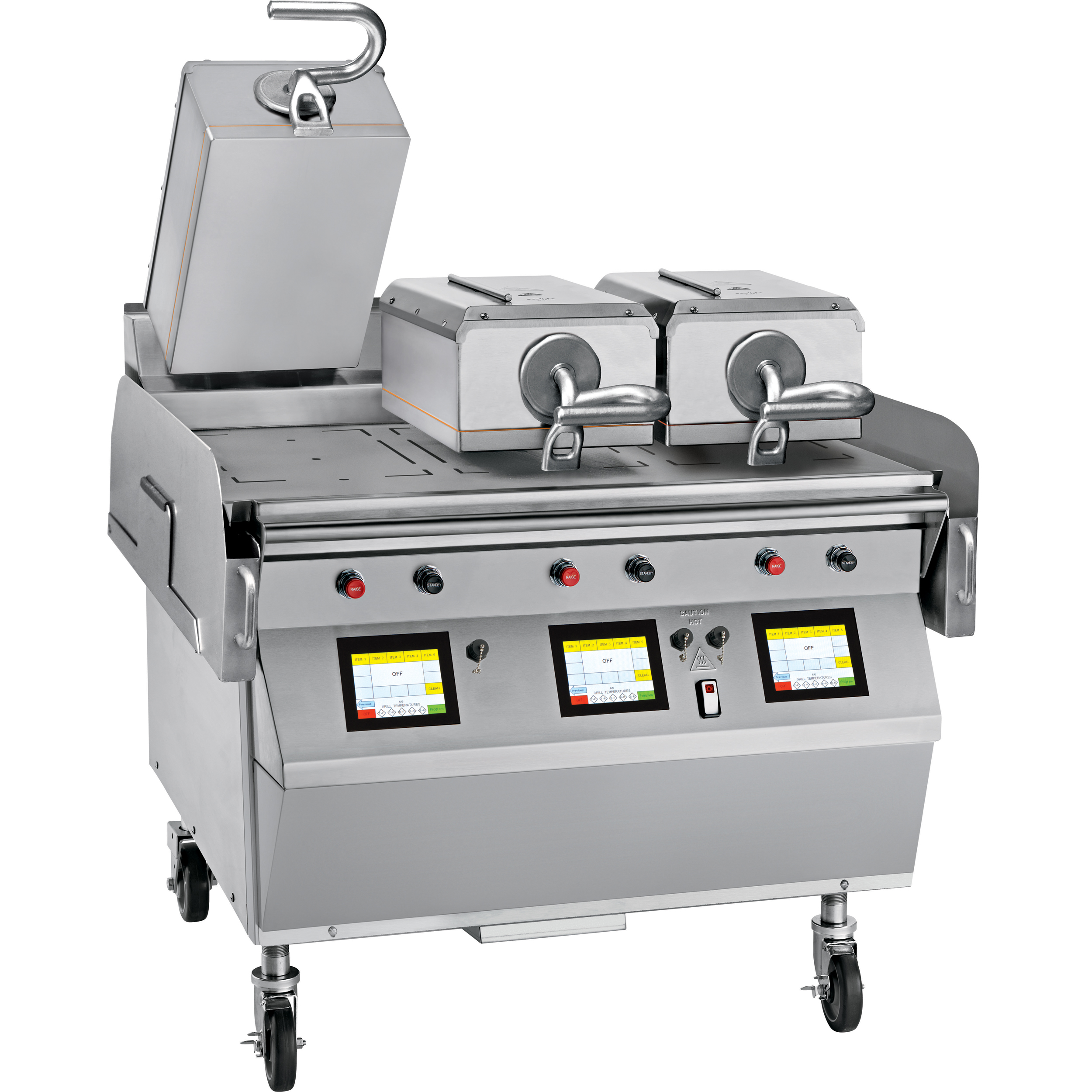 """Model L810   Electric 3 Platen 36"""" Grill  One touch menu selection automatically provides accurate TIME, TEMPERATURE and GAP settings for every product.  KEY SPECIFICATIONS:   Lower Cooking Surface Heat Source : Electric   Upper Platen Heat Source : Electric   Cooking Surface Dimensions : 36""""   Installation : Floor Model   Upper Platens : 3"""