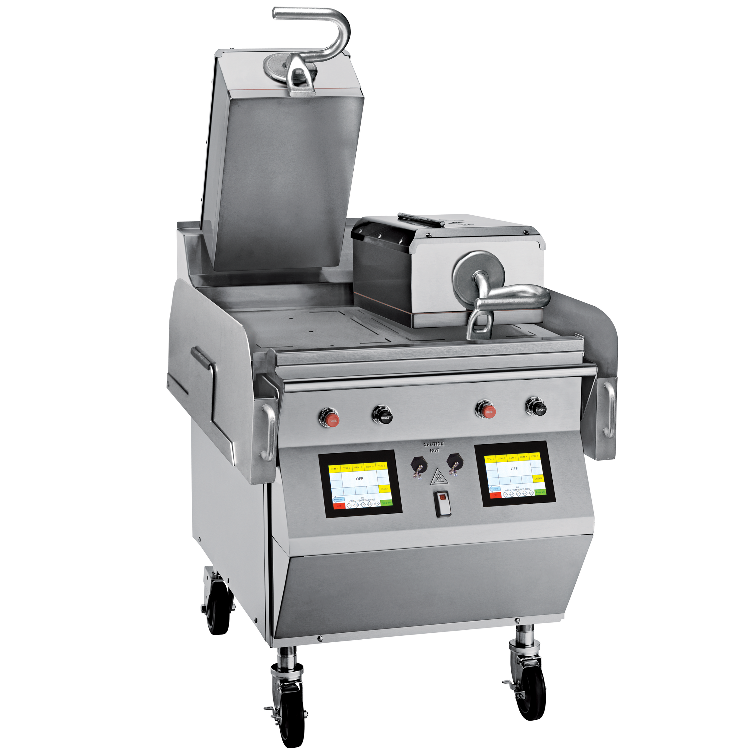 """Model L819   GAS/ELECTRIC 2 PLATEN 24"""" GRILL  One touch menu selection automatically provides accurate TIME, TEMPERATURE and GAP settings for every product.  KEY SPECIFICATIONS:   Lower Cooking Surface Heat Source : Gas   Upper Platen Heat Source : Electric   Cooking Surface Dimensions : 24""""   Installation : Floor Model   Upper Platens : 2"""
