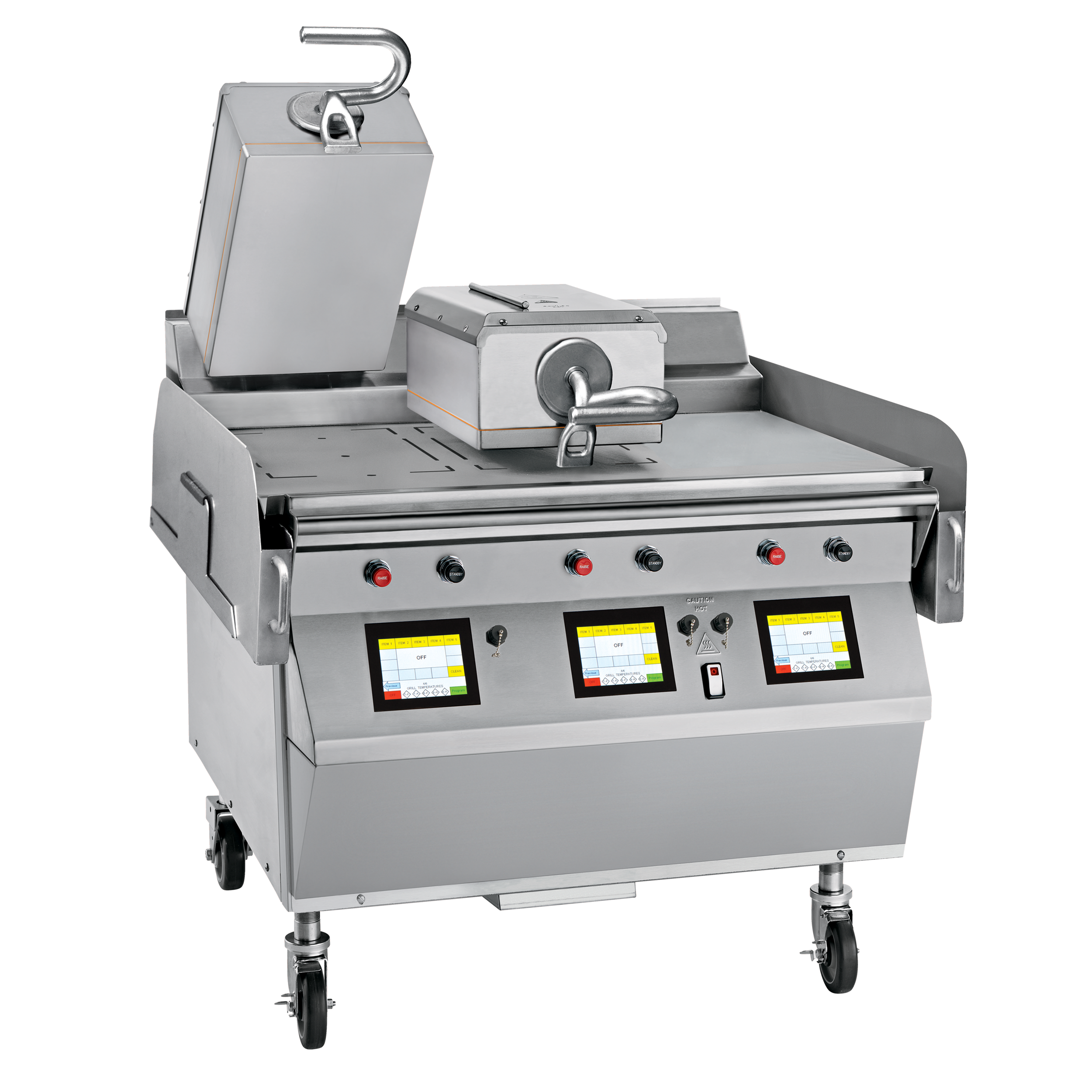 """Model L813   GAS/ELECTRIC 2 PLATEN 36"""" GRILL  One touch menu selection automatically provides accurate TIME, TEMPERATURE and GAP settings for every product.  KEY SPECIFICATIONS:   Lower Cooking Surface Heat Source : Gas   Upper Platen Heat Source : Electric   Cooking Surface Dimensions : 36""""   Installation : Floor Model   Upper Platens : 2"""