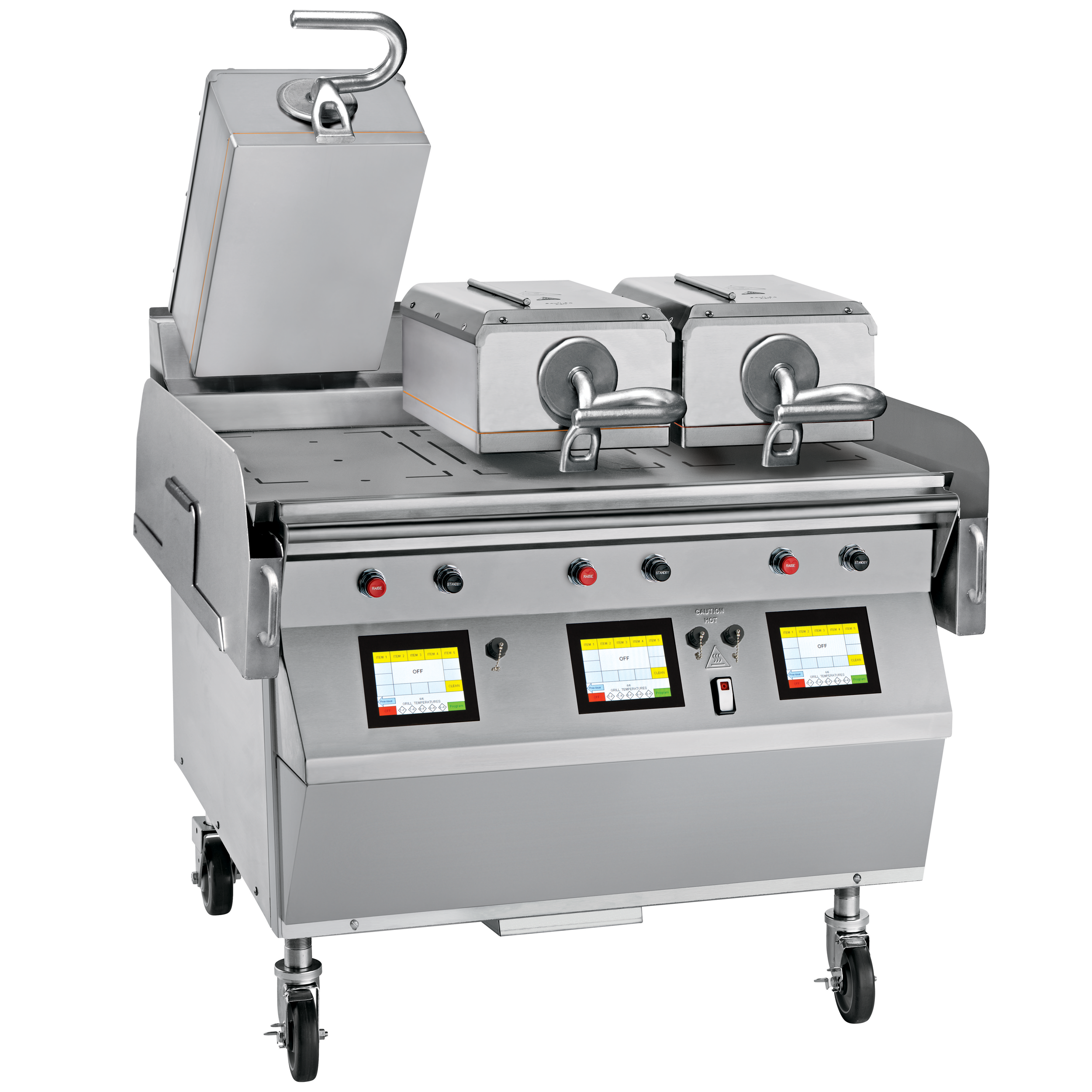 """Model L811  Gas/electric 3 Platen 36"""" Grill  One touch menu selection automatically provides accurate TIME, TEMPERATURE and GAP settings for every product.  KEY SPECIFICATIONS:   Lower Cooking Surface Heat Source : Gas   Upper Platen Heat Source : Electric   Cooking Surface Dimensions : 36""""   Installation : Floor Model   Upper Platens : 3"""