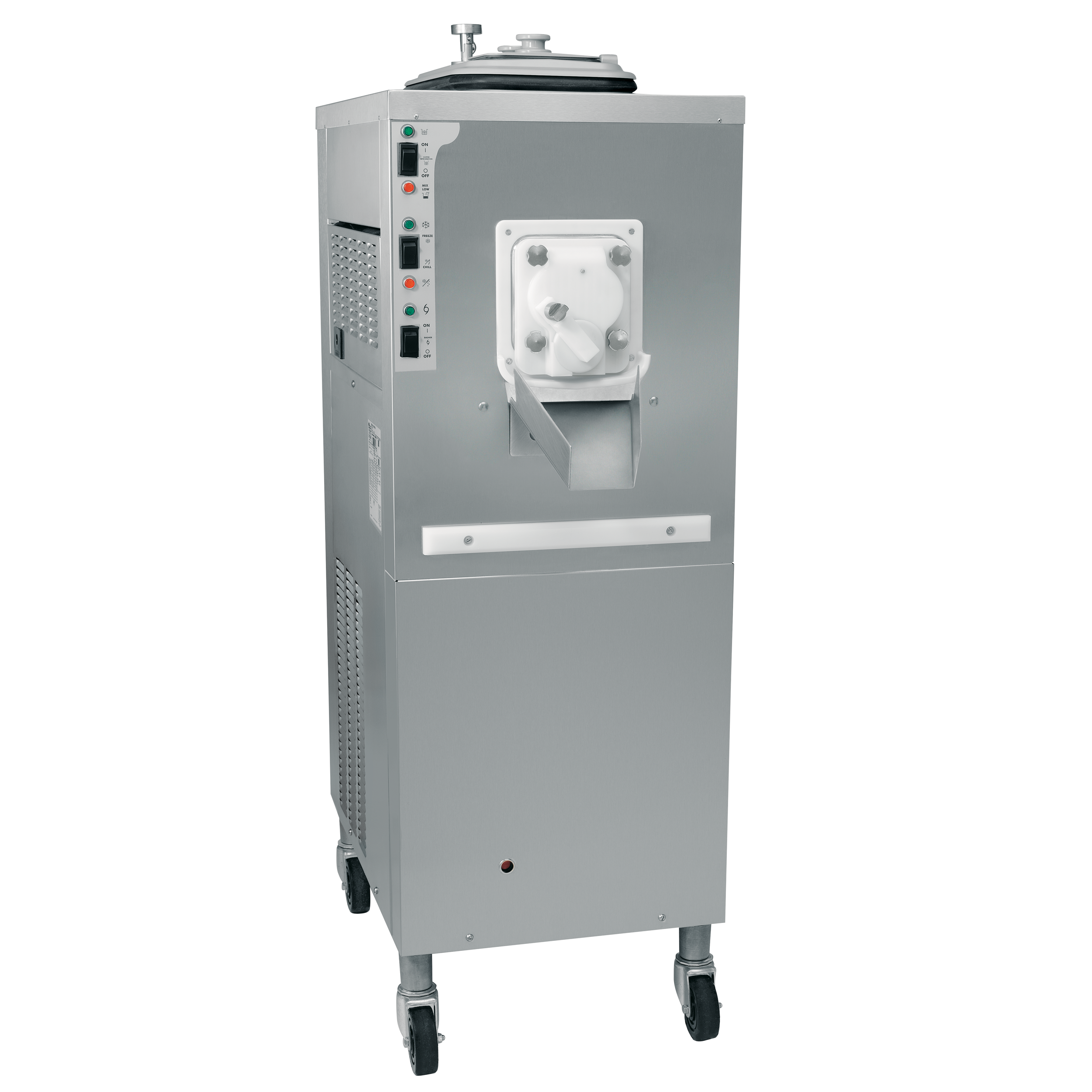 Model C001   Continuous Dispensing Custard Freezer  Offer premium frozen custard, low overrun ice cream or sorbet.  KEY SPECIFICATIONS:   Finished Products : Batch   Installation : Floor   Number of Flavors : 1   Freezing Cylinder QTY : 1   Freezing Cylinder Size (qt/l) : NA