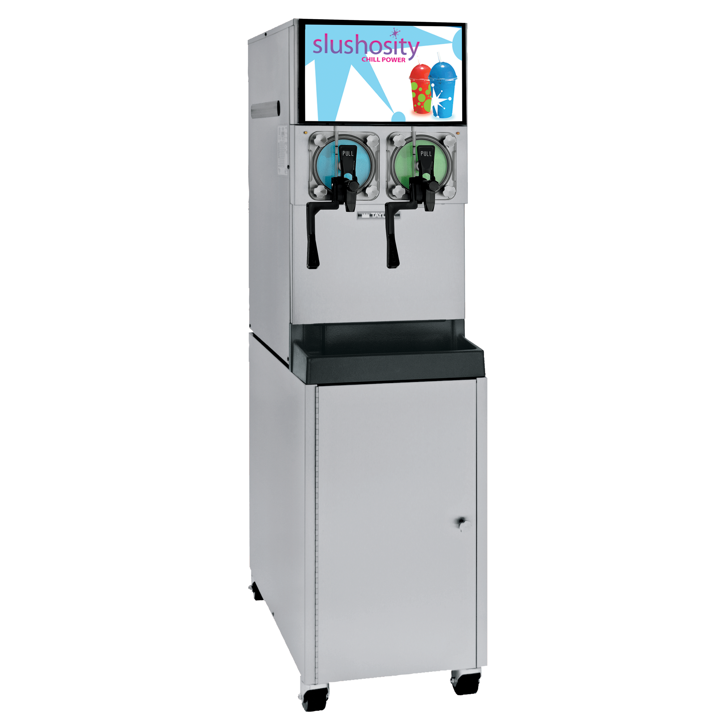 Model C300   Frozen Carbonated Beverage (FCB) Freezer  Dispense a light, fluffy, high overrun slush product in a pressurized system from this modular, counter-top freezer. Optional nonpressurized system produces a wetter, lower overrun slush. Air is discharged out the top of the unit to accommodate tight counter space. Optional cart converts the unit to a self-contained floor model, and provides storage for the syrup.  KEY SPECIFICATIONS:   Finished Products : Frozen Carbonated Beverage   Installation : Countertop (Floor - with optional cart)   Number of Flavors : 2   Freezing Cylinder QTY : 2   Freezing Cylinder Size (qt/l) : 7/6.6