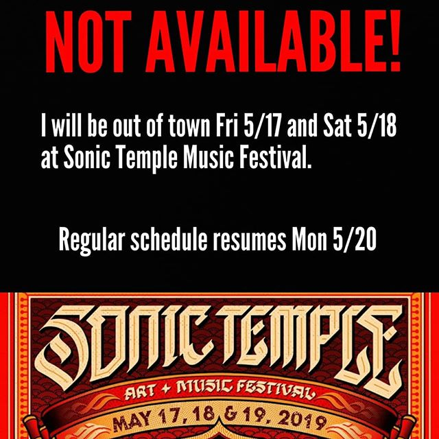 Hey guys, I will be out of town this weekend for @sonictemplefestival so stop by this week Monday through Thursday (12-9) for all your piercing needs! My normal schedule will resume on Monday 5/20 but just wanted to give everyone a heads up. Thanks again @alt99.1cleveland for the tickets! Still the coolest thing I have ever won. #weekendoff #sonictemple #minivacation #alt991cleveland