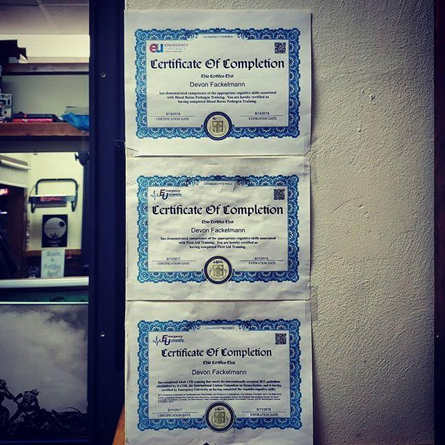 Certified as fuck. We don't mess around here #AmericanTattooStudios #theganggetspierced #itsalwaysstabbyincle #politelybrutal #femalepiercer #ohiopiercer #certified #bloodbornepathogens #adultcpr #firstaid #emergencyuniversity #certifiedasfuck #soofficial