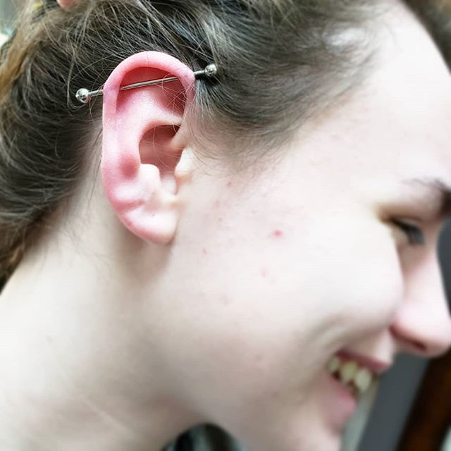This is what it's all about for me, stabs and smiles. This lovely lady came in today for her 18th birthday and got this rad industrial. It was beyond awesome to give her exactly what she was looking for on a very special day. Call or stop in today for any and all piercing needs!