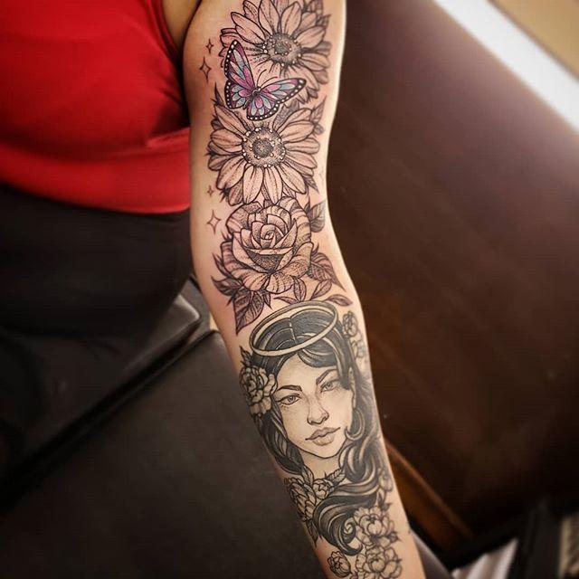 Healed angel face for her grandma. Fresh floral addition for her mother. Hope she loves her butterfly! 🦋🌻🌹 #butterflytattoo #floraltattoo #floral #rose #sunflower #butterdly #colorpop #blackandgrey #stippling #sparkles #freshandhealed #angel #angelface #stippledpeony #spektradirekt2 #dynamicblackink #blackclawneedles #solidink #j3minktattoos #femaletattooer #chickswithtattoos #cleartist #americantattoostudios