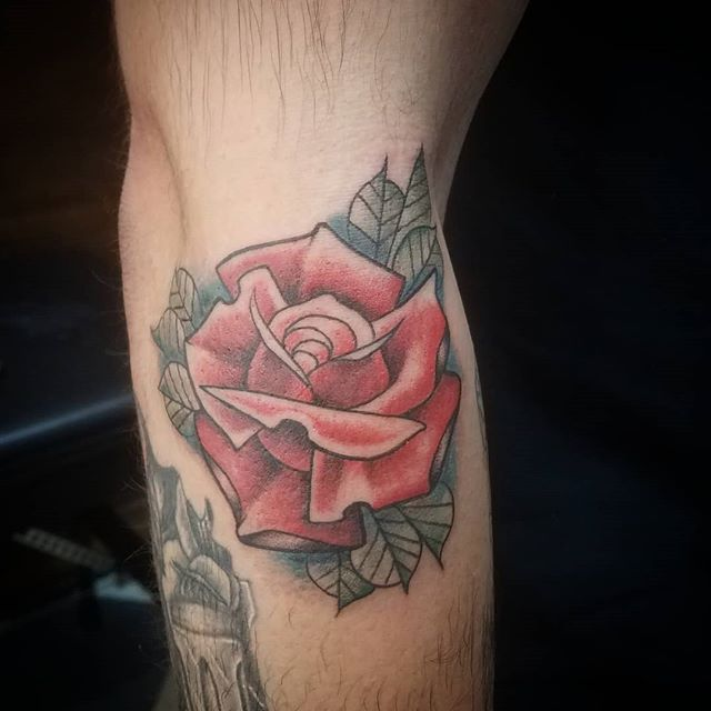 Super fun custom rose from the other week. Always love doing stuff like this. #americantattoostudios #rosetattoo #clevelandtattooartist #cle #solidink #blackclawneedle #dynamicblack #drvodkatattoos #flashtattoo