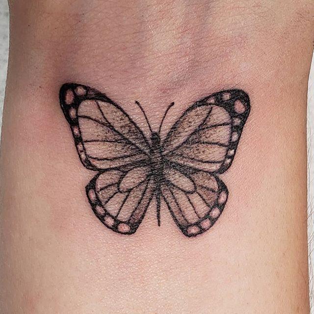 Hey there, tiny butterfly.  #butterfly #wristtattoo #blackandgrey #fineline #chickswithtattoos #j3minktattoos #spektradirekt2 #dynamicblackink #blackclawneedles  #americantattoostudios