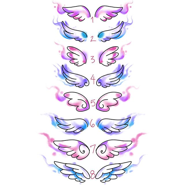 Which is your fav? 🙃 ( all currently available to be tattooed. ) #wings #angelwing #watercolorwing #watercolorflash #symmetricaltattoo #watercolor #simple #linework #americantattoostudios #femaletattooer #girlytattoos