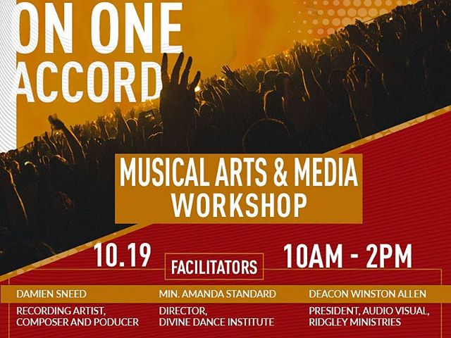 "Join us on Saturday for the ""On One Accord"" Musical Arts and Media Workshop 10am - 2pm."
