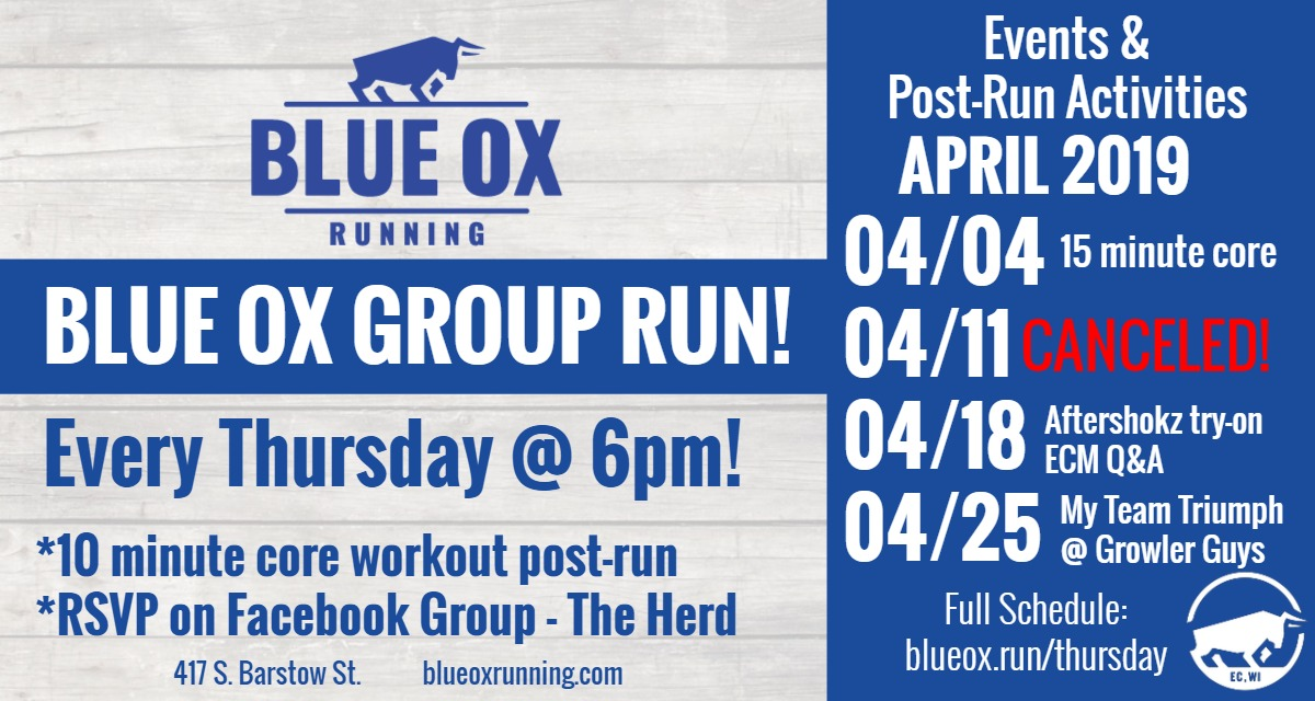 Blue Ox Running — Blue Ox Calendar & Events | Eau Claire WI